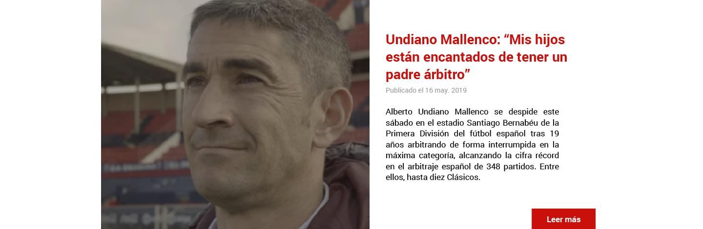El árbitro internacional Alberto Undiano se retira del arbitraje en activo.