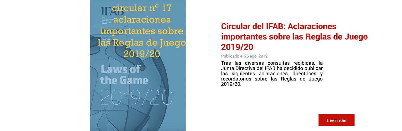 Circular del IFAB:  Aclaraciones importantes sobre las Reglas de Juego 2019/20